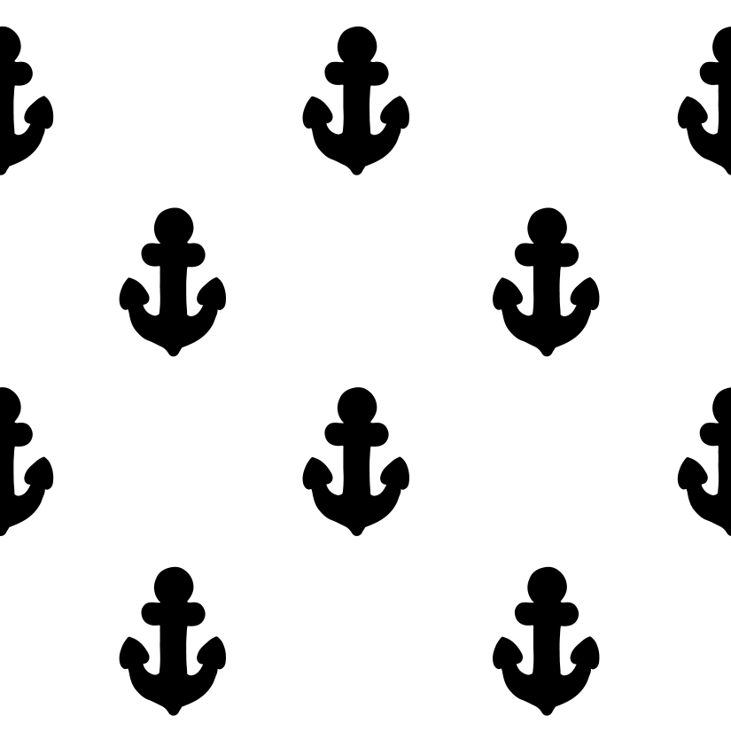 Black anchors in white - pattern