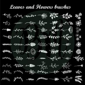 Leaves_and_Flower_brushes_BW_01