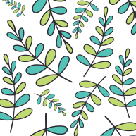 Blue and green leaves pattern